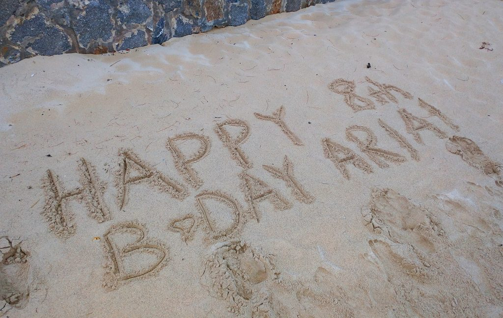 Happy Birthday in the Sand